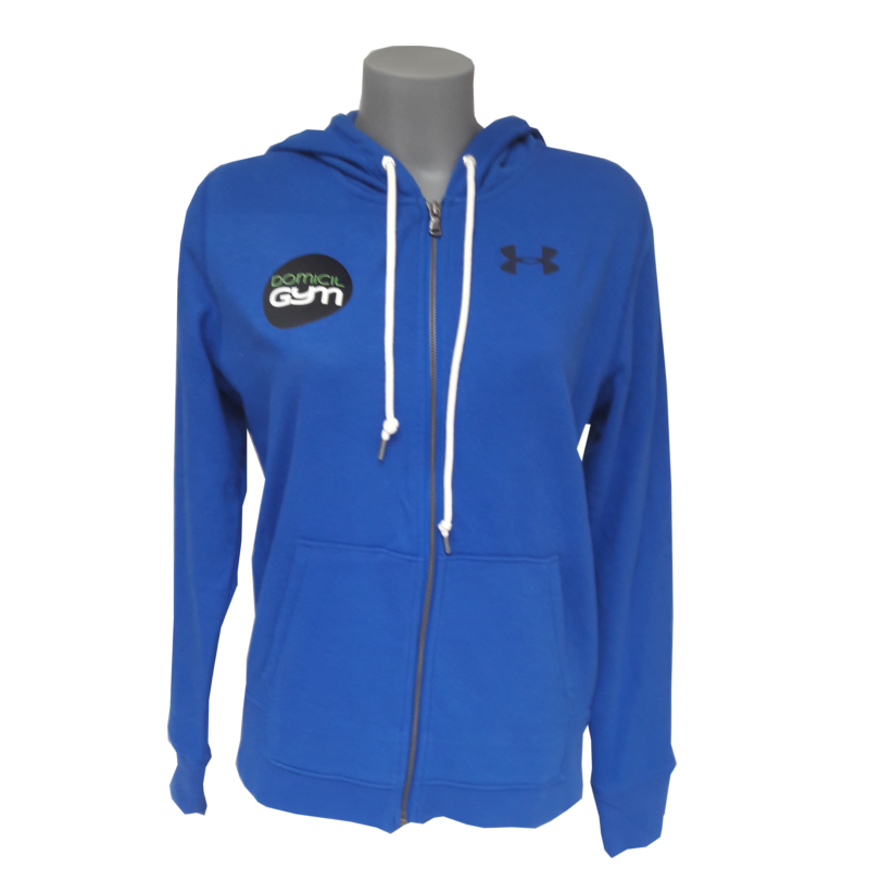 Veste sweat zippe femme bleu sport fitness under armour